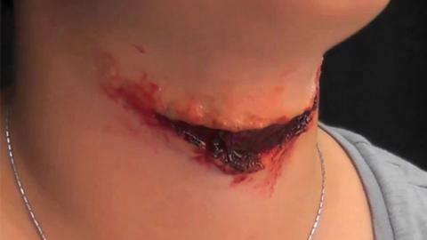 制作割断喉咙万圣节化妆特效