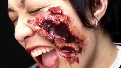 制作面部有碎玻璃伤口特效